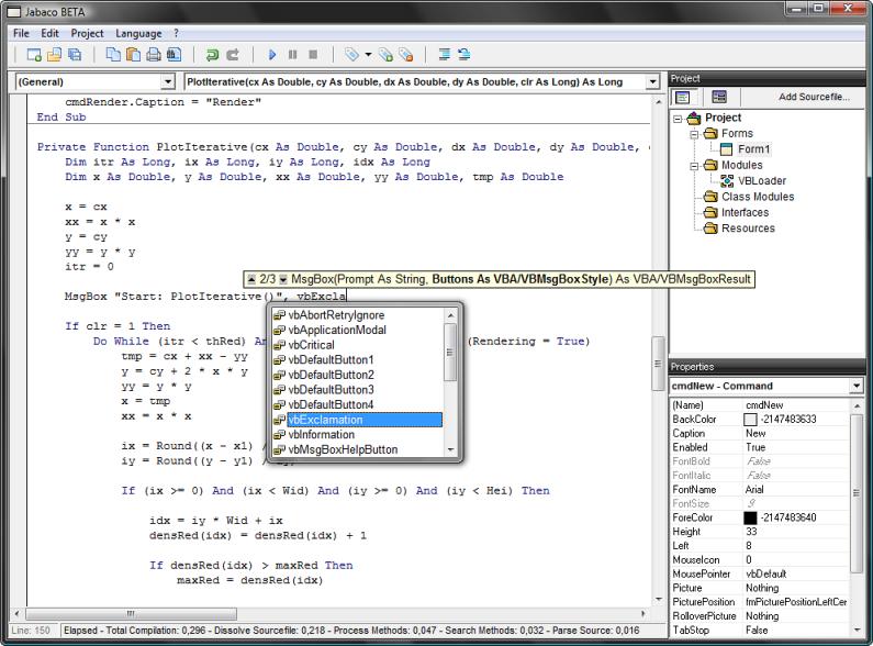 jabaco entwicklungsumgebung - Visual Basic Beispiele